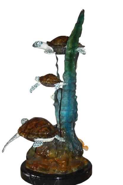 """Three turtles  - Bronze Statue -  Size: 17""""L x 12""""W x 28""""H."""