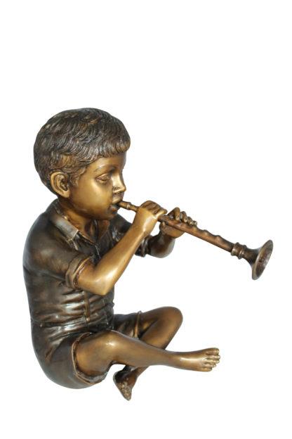 "Boy with Flute fountain bronze statue -  Size: 7""L x 11""W x 14""H."