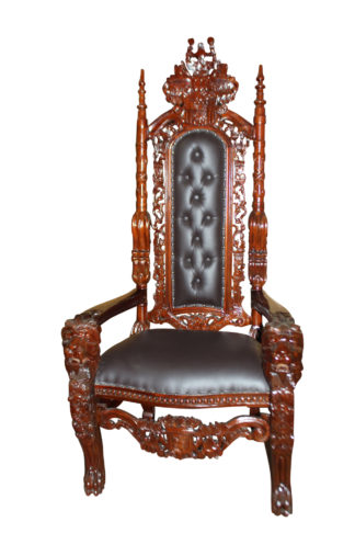 "Brown Lion Chair -  Size: 70""L x 36""W x 26""H."