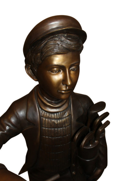 "Caddy with light Bronze Statue -  Size: 19""L x 19""W x 42""H."