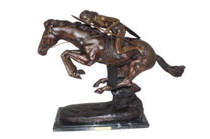 """Cheyenne by Remington Bronze Statue -  Size: 27""""L x 8.5""""W x 22""""H."""