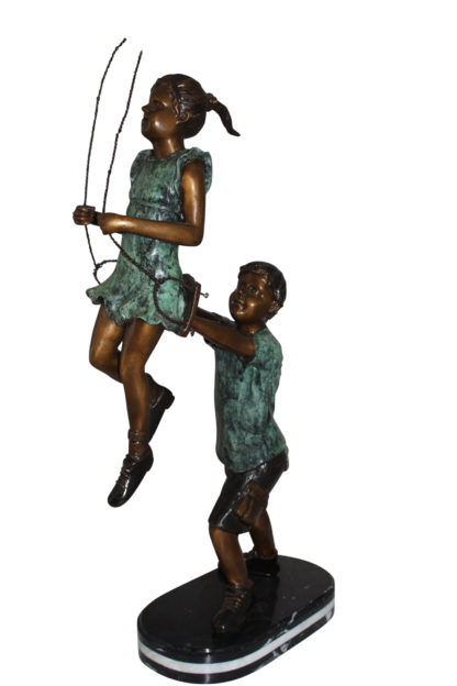 "Children-on-swing-Bronze-Statue -  Size: 20""L x 9""W x 39""H."