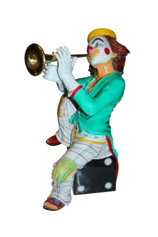 """Colorful Clown Playing Instrument Bronze Statue -  Size: 18""""L x 13""""W x 31""""H."""