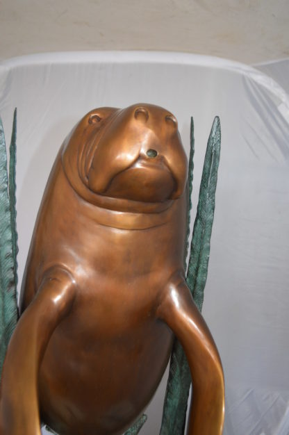 """Two Large Manatees swimming Bronze Fountain Statue -  Size: 23""""L x 42""""W x 42""""H."""