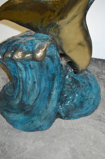 """Two Dolphins Overreach Others on Waves Bronze Statue -  44""""L x 23""""W x 76""""H."""