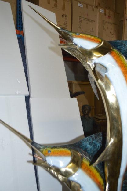 "Two - large Sailfish fish Bronze Statue -  Size: 30""L x 43""W x 79""H."