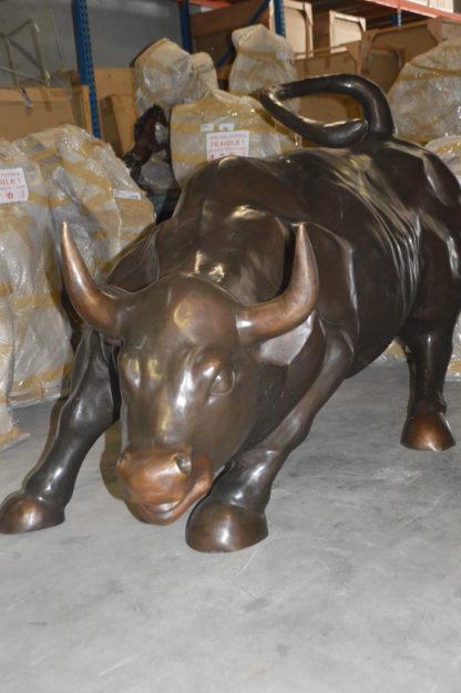 """Wall Street Bull - Giant Bronze Statue  -  Size: 30""""L x 82""""W x 47""""H."""