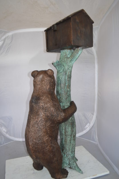 """Bear beside a Tree with Mailbox Bronze Statue -  Size: 19""""L x 20""""W x 50""""H."""
