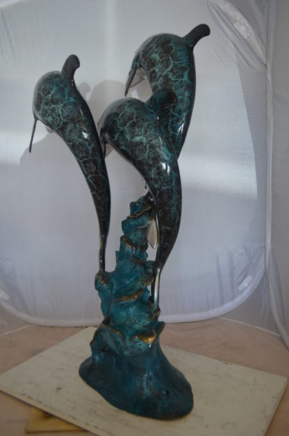 """Three Dolphin Fountain  Bronze Statue -  Size: 21""""L x 26""""W x 45""""H."""