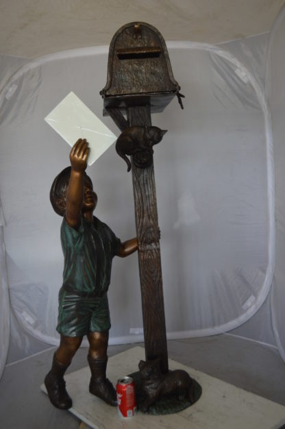 """Standing Boy by Mailbox with Two cats  Bronze Statue -  23""""x 19""""x 50""""H."""