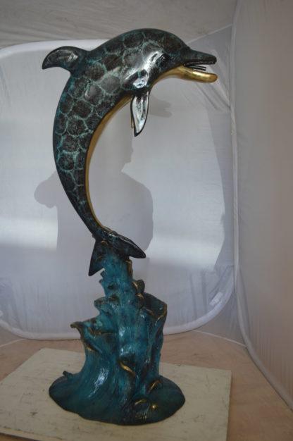"""Single Dolphin  Fountain Bronze Statue -  Size: 22""""L x 14""""W x 45""""H."""
