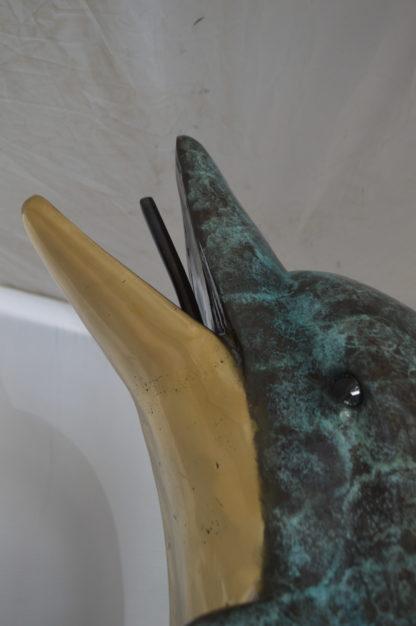 "Single Dolphin  On Wave Fountain Bronze Statue -  Size: 48""L x 24""W x 53""H."