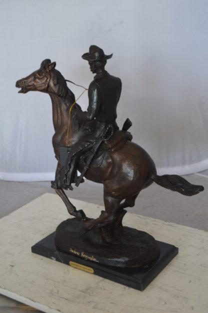 """Trooper of the Plains Bronze Statue by Remington -  Size: 9""""L x 22""""W x 22""""H."""