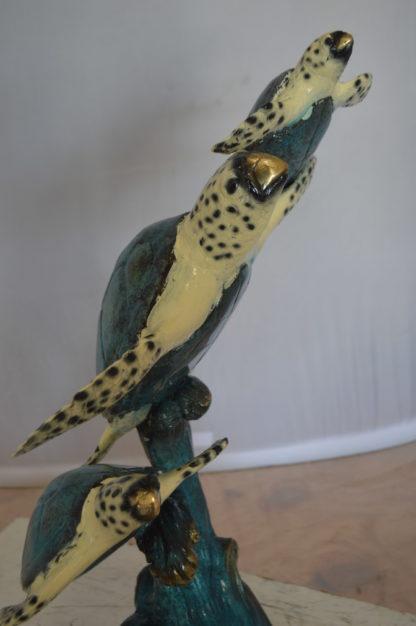 "Three Turtles Overreach Each Other Bronze Statue -  Size: 15""L x 9""W x 24""H."