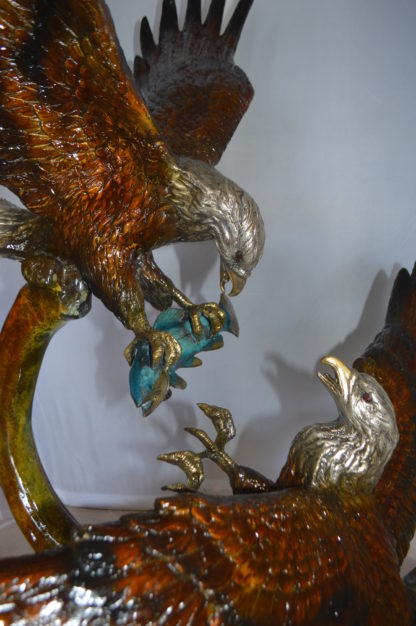 "Two Eagles Fighting on Fish Bronze Statue -  Size: 33""L x 28""W x 42""H."