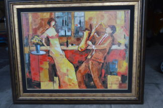 """J. Chayat Private Lesson II painting, Limited Ed, Original Mix Media -  52""""x 42"""""""