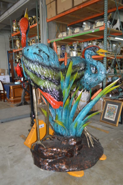 "Two colored Herons fountain -  Size: 53""L x 40""W x 88""H."