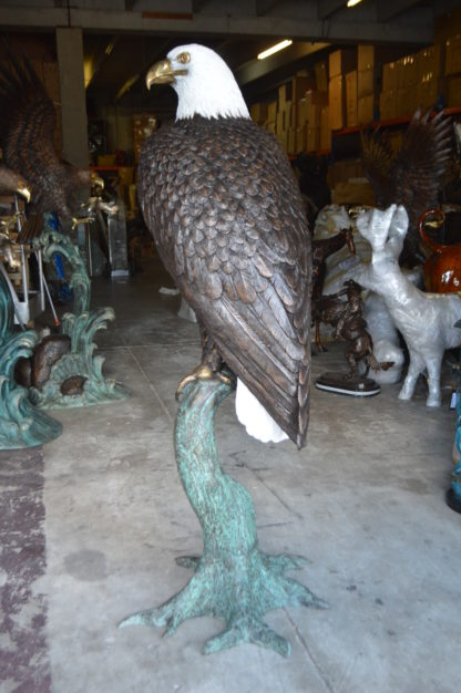 """Large Eagle on a branch Bronze Statue -  Size: 29""""L x 29""""W x 74""""H."""