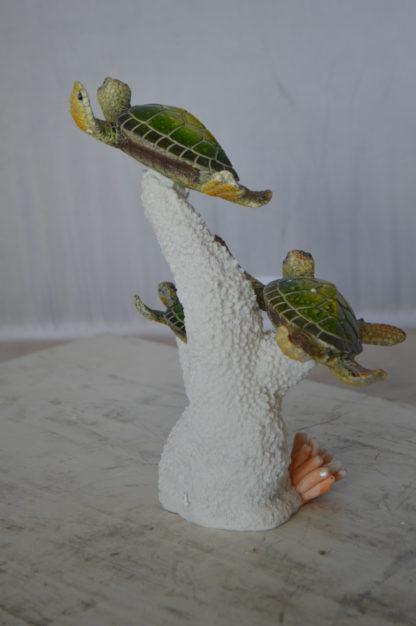 """Three Turtles Swimming Resin Statue -  Size: 8""""L x 8""""W x 10""""H."""