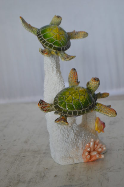 "Three Turtles Swimming Resin Statue -  Size: 8""L x 8""W x 10""H."