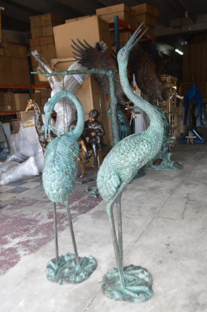 """Pair of Cranes fountains Bronze Statue – Green Patina -  13""""L x 9.5""""W x 52""""H."""