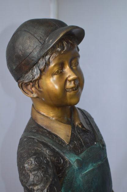 "Kid Fishing Water Fountain Bronze Statue -  Size: 18""L x 22""W x 49""H."