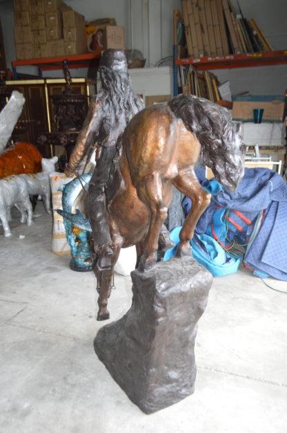 """Mountain Man, Giant, By Remington Bronze Statue -  Size: 57""""L x 221""""W x 71""""H."""