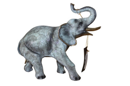 """Elephant with trunk up -  Statue -  Size: 13.5""""L x 5""""W x 12""""H."""