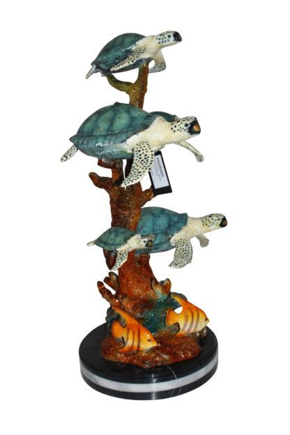 """Five Sea Turtles Swimming Bronze Statue -  Size: 20""""L x 16""""W x 30""""H."""