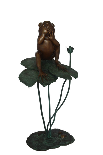 """Frog on Lotus Bronze fountain Statue -  Size: 22""""L x 20""""W x 44""""H."""