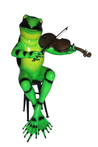 """Frog plays violin Bronze Statue -  Size: 22""""L x 17""""W x 26""""H."""