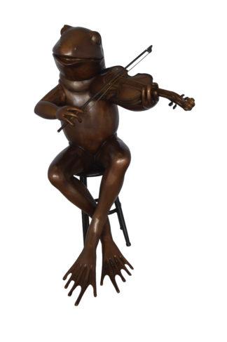 """Frog plays violin Bronze Statue -  Size: 29""""L x 18""""W x 29""""H."""