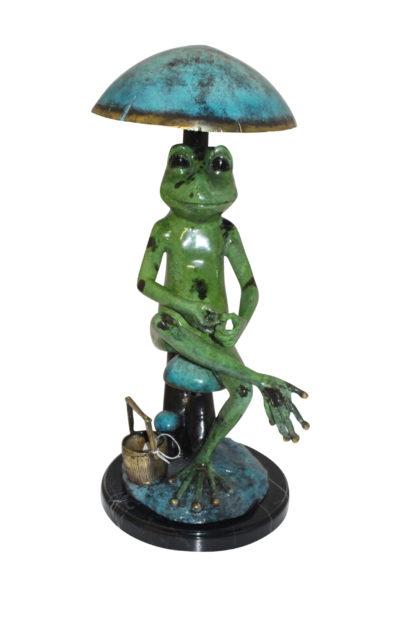 "Frog with Umbrella Bronze Statue -  Size: 11""L x 10""W x 22""H."