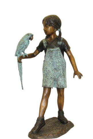 """Girl Holding a Parrot Bronze Statue -  Size: 26""""L x 19""""W x 42""""H."""