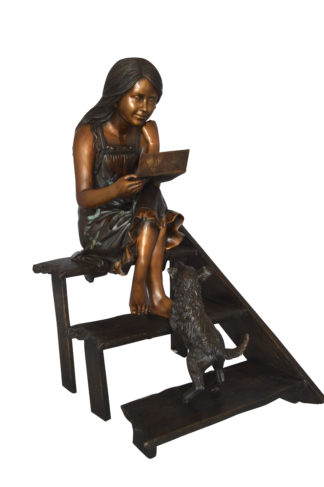 """Girl Reading Letters on the Stairs Bronze Statue -  Size: 32""""L x 22""""W x 40""""H."""