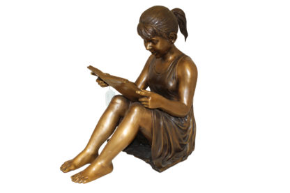 """Girl Sitting and Reading a Book Bronze Statue -  Size: 23""""L x 15""""W x 24""""H."""