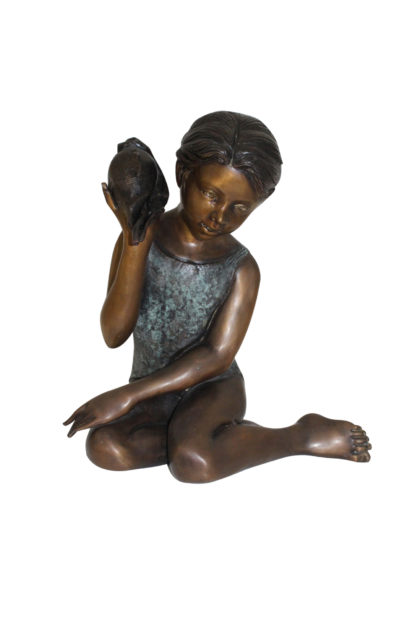"""Girl listening to a Shell fountain-Bronze Statue -  Size: 17""""L x 10""""W x 20""""H."""