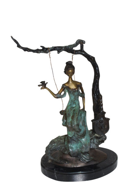 """Girl on a swing Bronze Statue -  Size: 15""""L x 8""""W x 21""""H."""