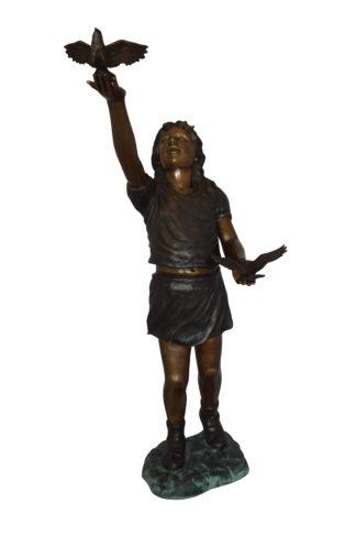 "Girl - sandy, with two birds Bronze Statue -  Size: 25""L x 20""W x 42""H."