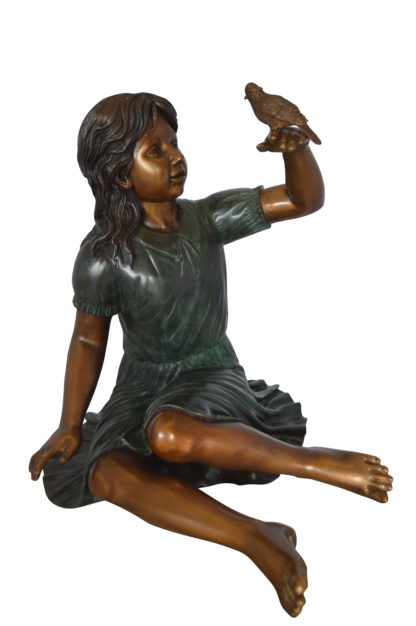 """Girl with a Sparrow Bronze Statue -  Size: 24""""L x 30""""W x 25""""H."""