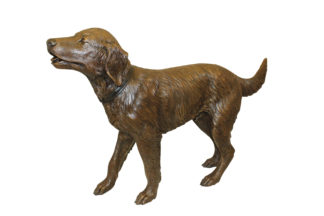 "Golden retriever dog standing - Bronze Statue -  Size: 44""L x 10""W x 27""H."