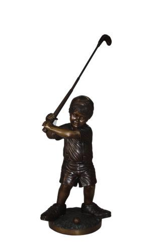 """Golfer Boy Bronze - Big shoes -  Size: 18""""L x 14""""W x 49""""H."""