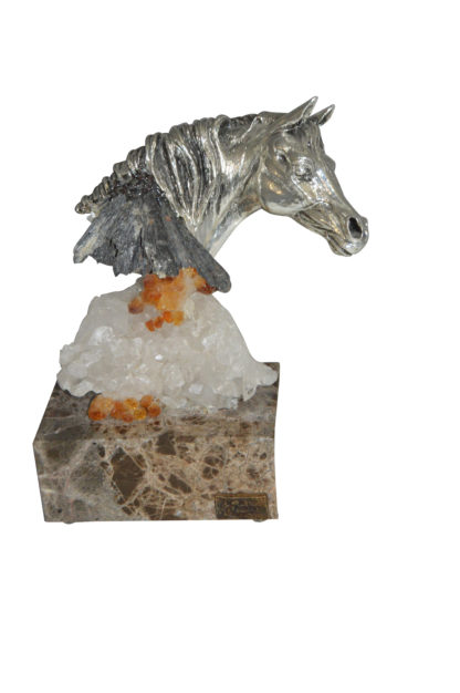 """Horse on Crystal Stone mounted on Marble by Vidal -  Size: 4""""L x 9""""W x 10""""H."""