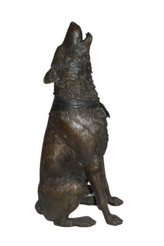 "Howling Wolf Bronze Statue -  Size: 16""L x 20""W x 37""H."