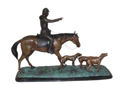 """Hunter with 3 dogs Bronze Statue -  Size: 26""""L x 8""""W x 19""""H."""