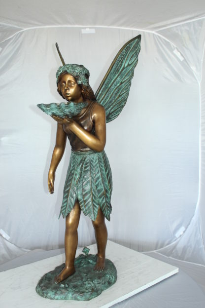 """Angel holding a shell Bronze Statue - Fountain -  Size: 18""""L x 12""""W x 43""""H."""