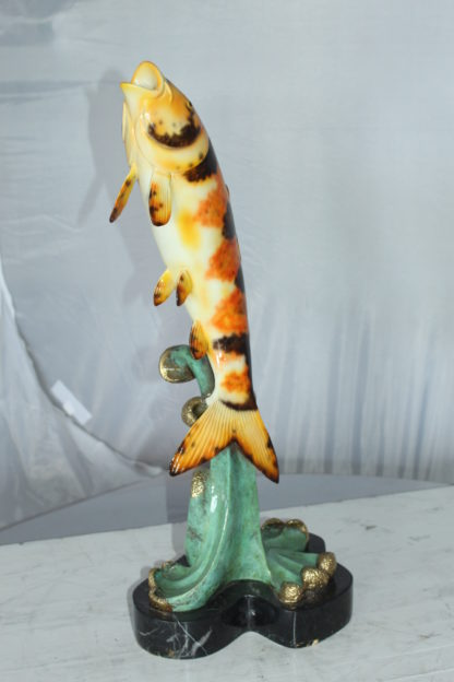 """Coy Fish Jumping off the Water Bronze Statue -  Size: 10""""L x 9""""W x 22""""H."""