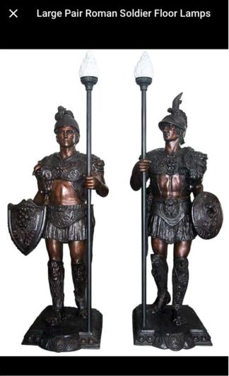 "Pair of Roman Warrior lamps Bronze Statues -  Size: 33""L x 24""W x 96""H."