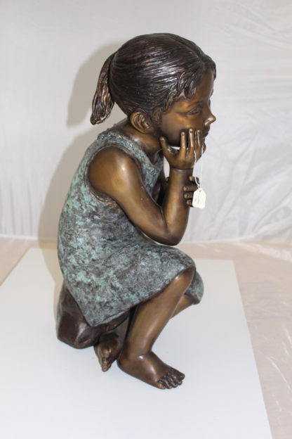"Girl in the sun -Sunny day Bronze Statue -  Size: 10""L x 11""W x 21""H."