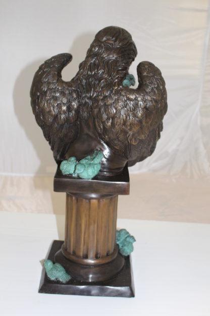 "Angel sitting on Column Bronze Statue -  Size: 10""L x 9""W x 22""H."